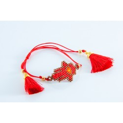 Bracelet chaquira main oeil rouge